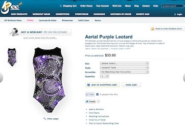 Thumbnail Screenshot of K-Bee Leotards Product Detail Page showing Webcam Social Shopper for Web Software Integration